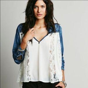 Free People sheer chiffon lace denim blouse